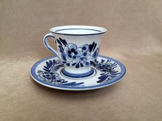 Delft Tea Cup Set, Cup and Saucer, Demitasse sized, Hand Painted, Signed and…