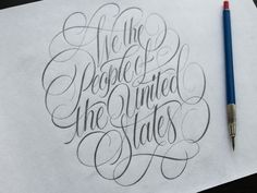 "The lettering cartouche is one of my absolute favorite things to design. I'm starting a little side project to both practice more of these, and also study the U. Constitution more closely. Here's today's — ""We The People"" . Tattoo Lettering Styles, Brush Lettering Quotes, Calligraphy Quotes, Graffiti Lettering, Calligraphy Alphabet, Lettering Design, Hand Lettering, Typography, Sketches Of People"