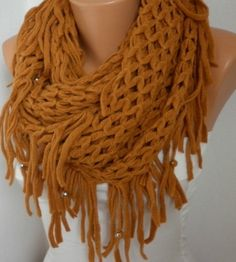 ON SALE - Mustard Infinity Scarf Loop Scarf Circle Scarf Fabric Knitted Lace Scarf - Tube Scarf - fatwoman