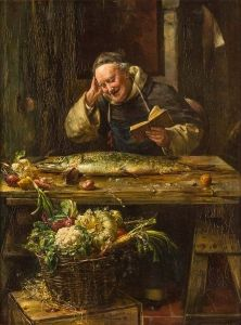 """""""The Monastery Pike"""" - Ernst Nowak. Another greasy book 'n' fish combo. Perhaps some Christian symbolism there? Hmmm... via The Athenaeum"""