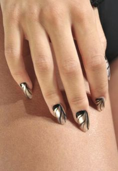 Gold + black nail art