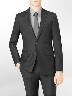 $425, Calvin Klein Body Slim Fit Charcoal Wool Suit Jacket. Sold by Calvin Klein. Click for more info: https://lookastic.com/men/shop_items/292310/redirect