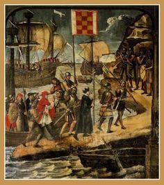 Desembarco del cardenal Cisneros en Orán / Detalle  Juan de Borgoña* / 1514hispanarum