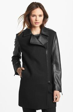 Vince Camuto Asymmetrical Zip Wool Blend & Faux Leather Coat