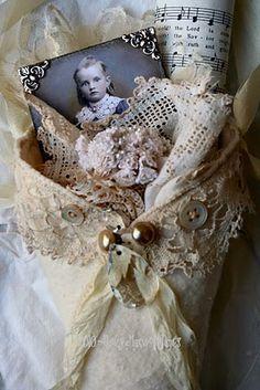 Shabby Fabric Cone from Nancy of Sugarlump studio