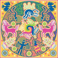 Illustration in the series of Huichol-inspired designs that explores the symbols behind the Mexican indigenous group's spiritual beliefs, deities, significant forces of nature. Corn (ikuri), deer (maxa) and peyote (hikuli) are important symbols that transcend mere subsistence for the Huichol people and enter the realm of the spiritual and the divine. One Huichol belief is that Grandfather Fire (Tatewari) helped the deer create peyote and corn. The snakes in the center represent Grandfather… Spiritual Beliefs, Spirituality, Snakes, Deities, Deer, Art Photography, Mexican, Design Inspiration, Symbols