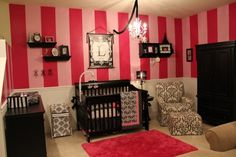 LOVE the pink, black, and damask nursery!!