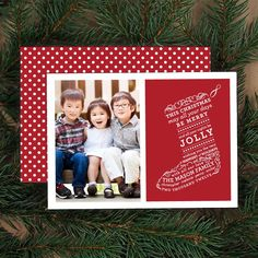 Stocking Type Christmas Photo Card by Banter & Charm