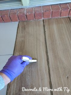Paint or Stain Concrete Patio Lovely How I Painted & Stained My Concrete Floor to Look Like Wood Painted Concrete Steps, Stained Concrete Porch, Painted Porch Floors, Stenciled Concrete Floor, Porch Paint, Porch Flooring, Concrete Lamp, Painting Concrete Porch, How To Paint Concrete