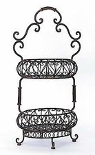 Wrought Iron Decor Store- Indio Two Tiered Oval Baskets