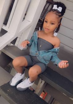 Cute Little Girls Outfits, Cute Baby Girl Outfits, Kids Outfits Girls, Toddler Girl Outfits, Cute Baby Clothes, Erwarten Baby, Mix Baby Girl, Cute Black Kids, Black Baby Girls