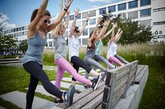 A park bench is perfect for stretching and simple asanas.