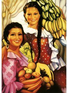 Señorita with Bananas Giclee Print item Mexican Artwork, Mexican Folk Art, Mexican Girls, Vintage Posters, Vintage Art, Jesus Helguera, Jorge Gonzalez, Latino Art, Mexican Artists