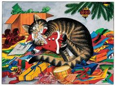Christmas Cat Kliban illustrations were o popular in the Cool Cats, I Love Cats, Christmas Animals, Christmas Cats, Christmas Trees, Christmas Morning, Crazy Cat Lady, Crazy Cats, Chat Web