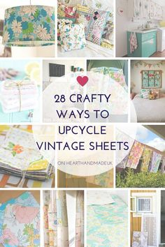 28 Crafty Projects to help you use up those old vintage sheets or retro material/fabric you find. An excellent resource for vintage sheet home decor ideas and projects to sew by hand or using a sewing machine