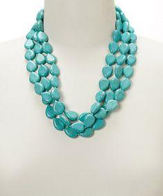Loving this Turquoise Magnesite Three-Strand Necklace on #boho #southwest #turquoise #jewelry #jewelrysale #giftidea #bracelet #necklace #earrings #gemstone #sale #gift #fashion #fashionjewelry #pavcusdesigns