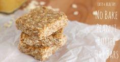 healthy 3 ingredient no bake peanut butter oat bars
