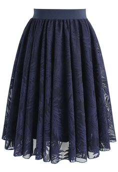 Palm Tree Jungle Mesh Skirt in Navy- New Arrivals - Retro, Indie and Unique Fashion