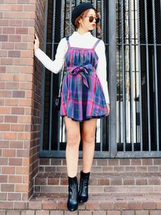 vintage check pattern dress Madder vintageオンラインシ