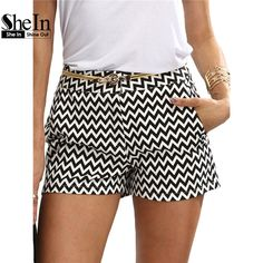 d425f90dc7 SHEIN Woman Shorts Summer New Arrival Black and White Mid Waist Button Fly  Casual Pocket Cotton Straight Shorts-in Shorts from Women's Clothing ...