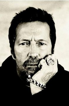 Black and White portrait of guitar legend, Eric Clapton