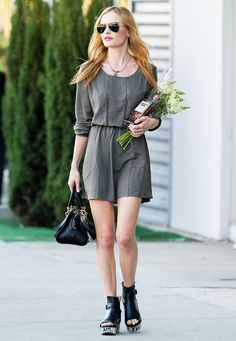 c5be2e0ce81 Kate Bosworth sporting flatforms with an olive Anine Bing sundress Kate  Bosworth Style