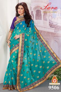 Teal Blue Tissue Jacquard Saree With Blouse- 9506  Now, place your Order now : whatsaap ↪ + 91- 9820936178 Email:- raksha@silk-india.com