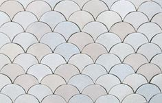 White Tile Shapes | We also make Scallop tiles or Fishscale tiles. These are 80x70 mm, £ ...