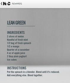 Nike training club reward- lean green smoothie recipe
