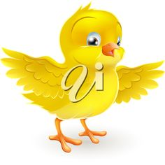 iCLIPART - Illustration of a cute happy little yellow Easter chick with its wings outstretched