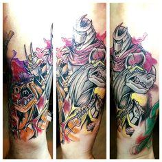 Linker Arm. Außenseite. Eine Session von 4 Stunden. Aquarell-Stil. Teenage Mutant Ninja Turtles. Shredder, Rocksteady und Bebop. #TMNT Sketch/Draft von Rob Duenas (SketchCraft) - Webseite: https://www.facebook.com/SketchCraftMag Tattoo von Tim (Inksanity, Germering, Deutschland) - Webseite: https://www.facebook.com/InkSanity-Tattoo-817058291710650/