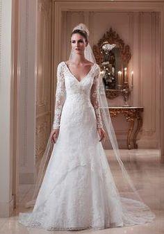 Keyhole V Neck A line Lace Court Train Wedding Dress - 1300103174B - US$259.99 - BellasDress