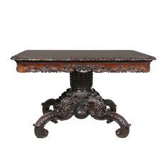 Wonderfully Carved Italian Walnut Center Table