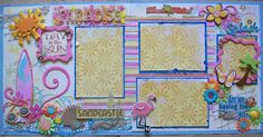 Here is another beach/summer layout I made. Beach Scrapbook Layouts, Cruise Scrapbook, 12x12 Scrapbook, Scrapbook Sketches, Scrapbook Supplies, Scrapbooking Layouts, How To Make Scrapbook, Amazing Grace, Vacation Trips