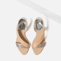 nude embellished flat sandals