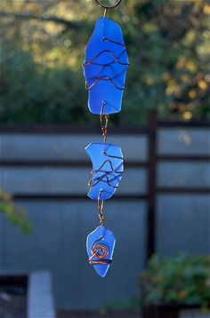 Cobalt Blue Glass and Copper Suncatcher Handcrafted - Coast Chimes - 2