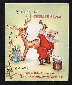 Vintage-Christmas-Card-Santa-Putting-Shoes-On-Reindeer-Blacksmith-1940s