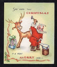 Vintage-Christmas-Card-Santa-Putting-Shoes-On-Reindeer-Blacksmith-1940s