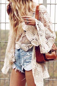 Crochet lace kimono wrap. must have summer accessory