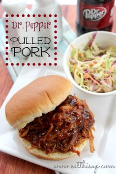 Dr. Pepper Pulled Pork sandwiches in the crockpot