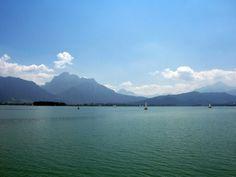 Forggensee is a lake located north of Füssen in the district of Ostallgäu in Bavaria, Germany. Near the alps. Found at: http://www.bilder-universum.de/