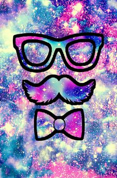 Cute hipster moustache galaxy wallpaper I created for the app CocoPPa!