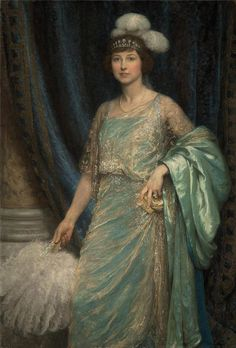 The Hon. Mrs Ernest Guinness, 1920, a portrait of the sitter wearing a rather impressive diamond and pear-shaped pearl tiara.