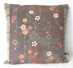 NEW LTD EDITION Autumnal Elegant Double Sided Floral Stripe Large Cushion £50.00
