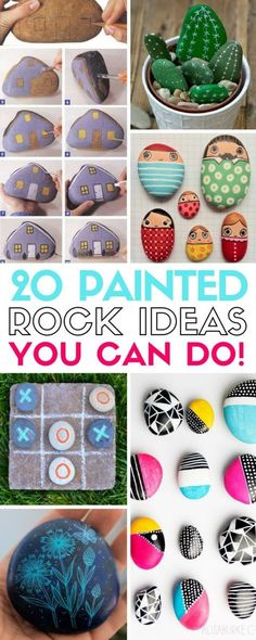 Painted Rock Art For the Garden Easy DIY Ideas Inspirational Easy Easter egg painted rocks painted rocks that look like camper trailers Learn the best techniques for p. Pebble Painting, Pebble Art, Stone Painting, Stone Crafts, Rock Crafts, Arts And Crafts, Diy Crafts, Decor Crafts, Creative Crafts