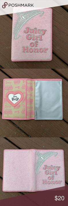 """Juicy Couture Pink Terrycloth Picture Album So cute...Juicy Couture 'Juicy Girl of Honor' pink embroidered terrycloth photo album. Measures 6 1/2"""" x 5"""". Would make a nice gift for a special occasion. Excellent condition- was never used, no spots or signs of wear Juicy Couture Bags Cosmetic Bags & Cases"""