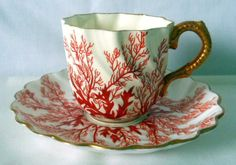 Rare, Vintage, Coalport Cup and Saucer, Gilded Embossed Handle, Seaweed Pattern