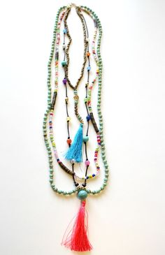 Tassel Party Necklace - Turquoise