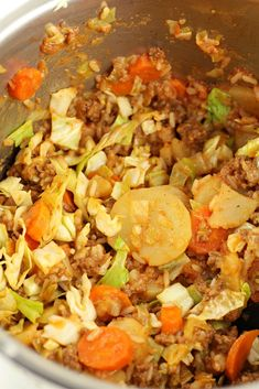 Instant Pot Shipwreck Casserole--a compilation of random ingredients like ground beef, cabbage, potatoes and carrots that ends up tasting really amazing together! Try this easy Instant Pot recipe for dinner tonight! Beef Recipes, Cooking Recipes, Healthy Recipes, Healthy Meals, Easy Recipes, Recipies, Pressure Cooker Recipes, Pressure Cooking, Slow Cooker
