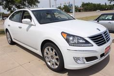 2012 Hyundai Equus Signature in White Satin Pearl.  Winner of the JD Powers - 2011 Appeal Award and a 2011 and 2012 IIHS Top Safety Pick.